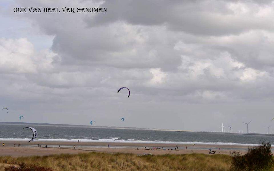 Op het Noordzee strand waren ze aan het kitesurven