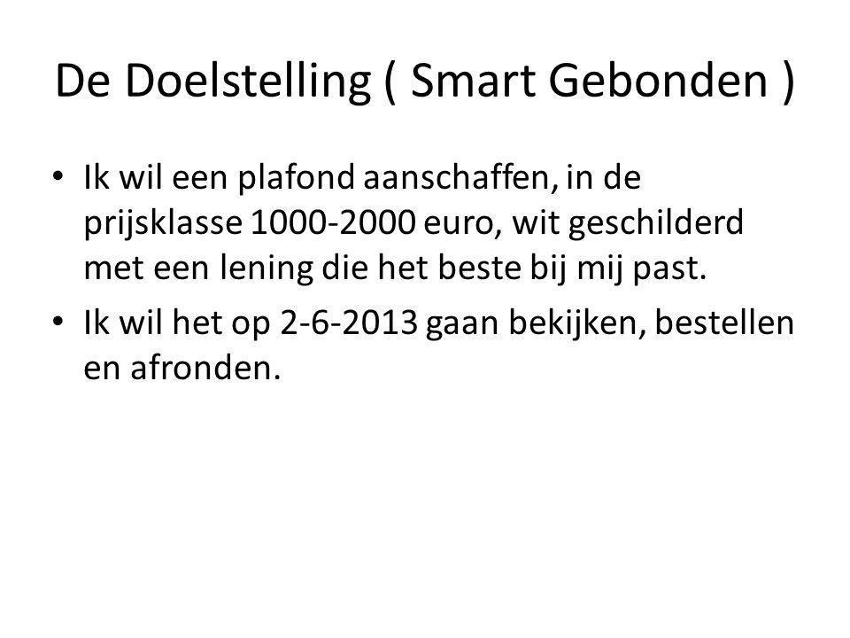 De Doelstelling ( Smart Gebonden ) Ik wil een plafond aanschaffen, in de prijsklasse 1000-2000 euro, wit geschilderd met een lening die het beste bij