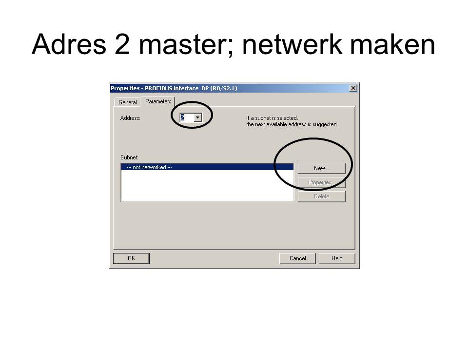 Adres 2 master; netwerk maken