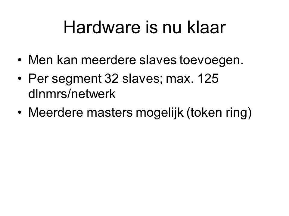 Hardware is nu klaar Men kan meerdere slaves toevoegen. Per segment 32 slaves; max. 125 dlnmrs/netwerk Meerdere masters mogelijk (token ring)