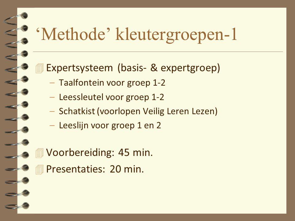 'Methode' kleutergroepen-1 4 Expertsysteem (basis- & expertgroep) –Taalfontein voor groep 1-2 –Leessleutel voor groep 1-2 –Schatkist (voorlopen Veilig Leren Lezen) –Leeslijn voor groep 1 en 2 4 Voorbereiding: 45 min.