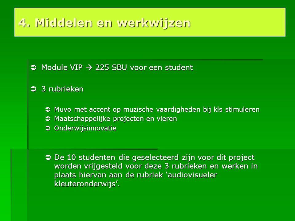  Module VIP  225 SBU voor een student  3 rubrieken  Muvo met accent op muzische vaardigheden bij kls stimuleren  Maatschappelijke projecten en vi