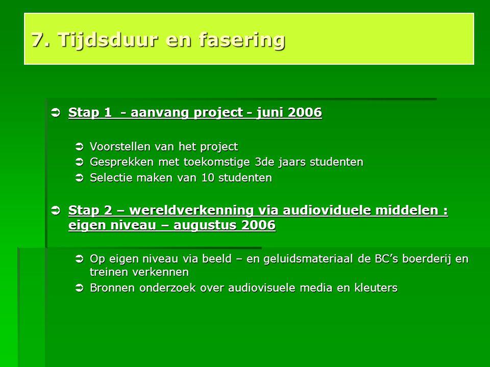  Stap 1 - aanvang project - juni 2006  Voorstellen van het project  Gesprekken met toekomstige 3de jaars studenten  Selectie maken van 10 studente