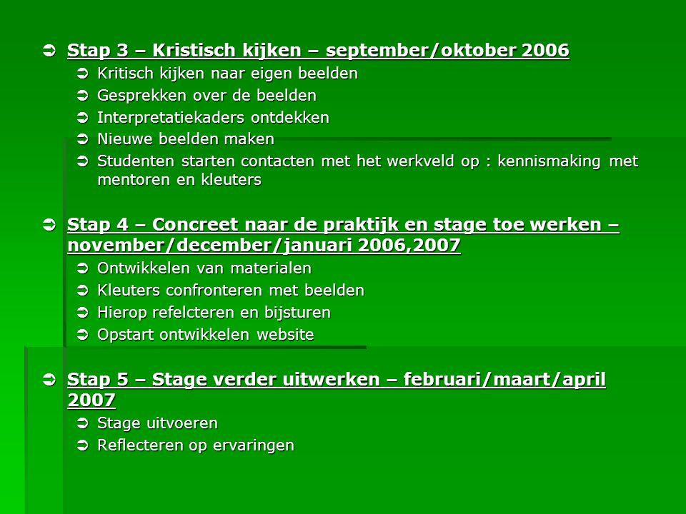  Stap 3 – Kristisch kijken – september/oktober 2006  Kritisch kijken naar eigen beelden  Gesprekken over de beelden  Interpretatiekaders ontdekken