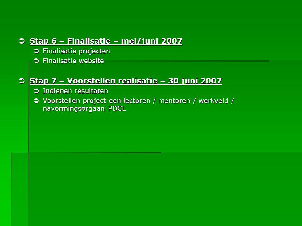  Stap 6 – Finalisatie – mei/juni 2007  Finalisatie projecten  Finalisatie website  Stap 7 – Voorstellen realisatie – 30 juni 2007  Indienen resul