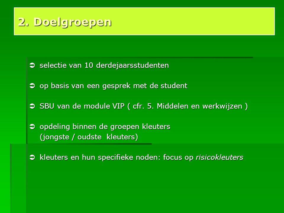  selectie van 10 derdejaarsstudenten  op basis van een gesprek met de student  SBU van de module VIP ( cfr. 5. Middelen en werkwijzen )  opdeling