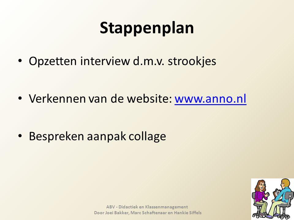 Stappenplan Opzetten interview d.m.v. strookjes Verkennen van de website: www.anno.nlwww.anno.nl Bespreken aanpak collage ABV - Didactiek en Klassenma