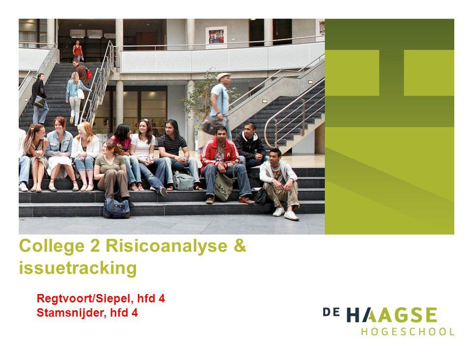 College 2 Risicoanalyse & issuetracking Regtvoort/Siepel, hfd 4 Stamsnijder, hfd 4