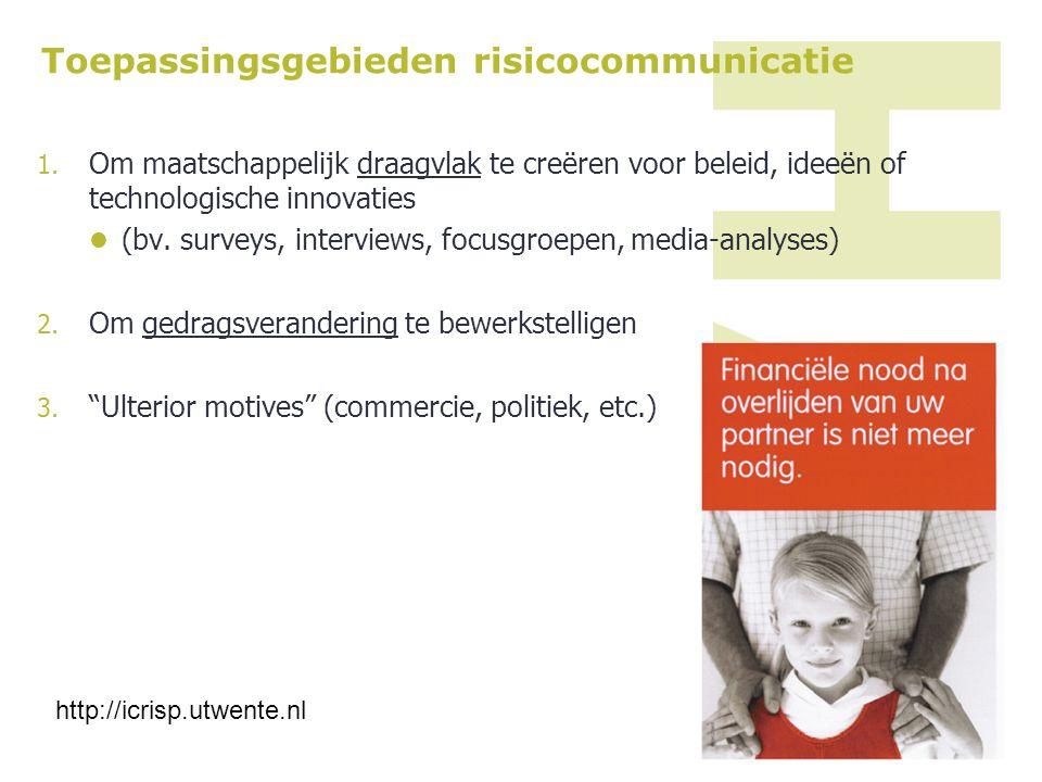 Toepassingsgebieden risicocommunicatie 1. Om maatschappelijk draagvlak te creëren voor beleid, ideeën of technologische innovaties (bv. surveys, inter