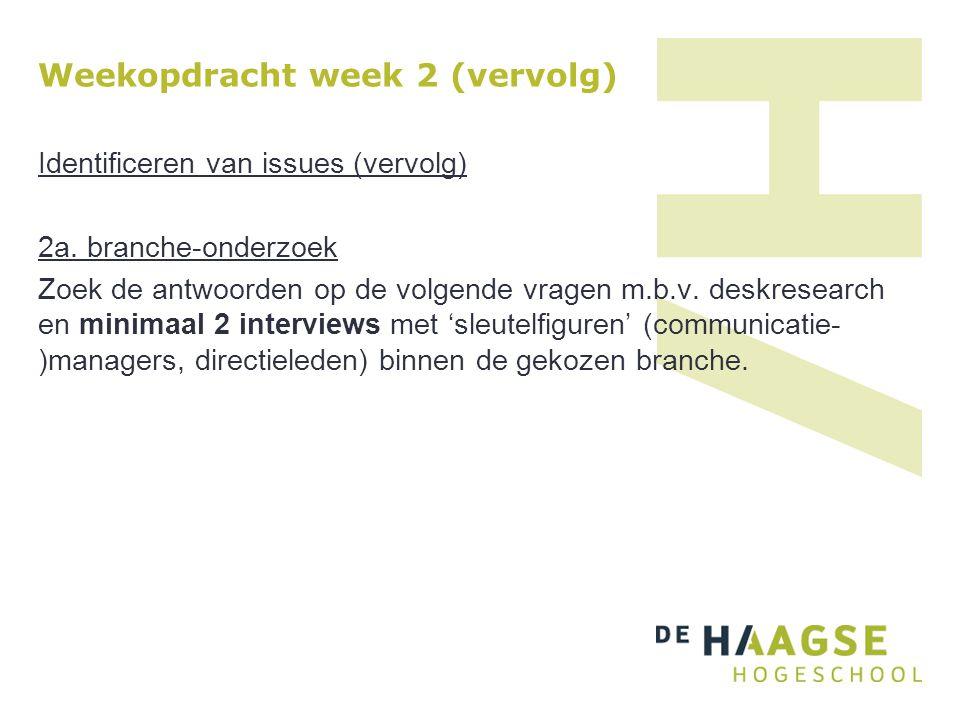 Weekopdracht week 2 (vervolg) Identificeren van issues (vervolg) 2a. branche-onderzoek Zoek de antwoorden op de volgende vragen m.b.v. deskresearch en