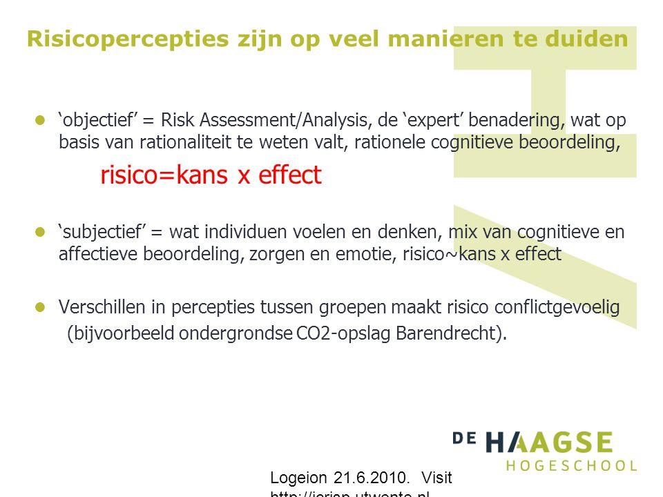 Risicopercepties zijn op veel manieren te duiden 'objectief' = Risk Assessment/Analysis, de 'expert' benadering, wat op basis van rationaliteit te wet