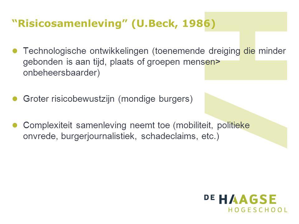 """""""Risicosamenleving"""" (U.Beck, 1986) Technologische ontwikkelingen (toenemende dreiging die minder gebonden is aan tijd, plaats of groepen mensen> onbeh"""