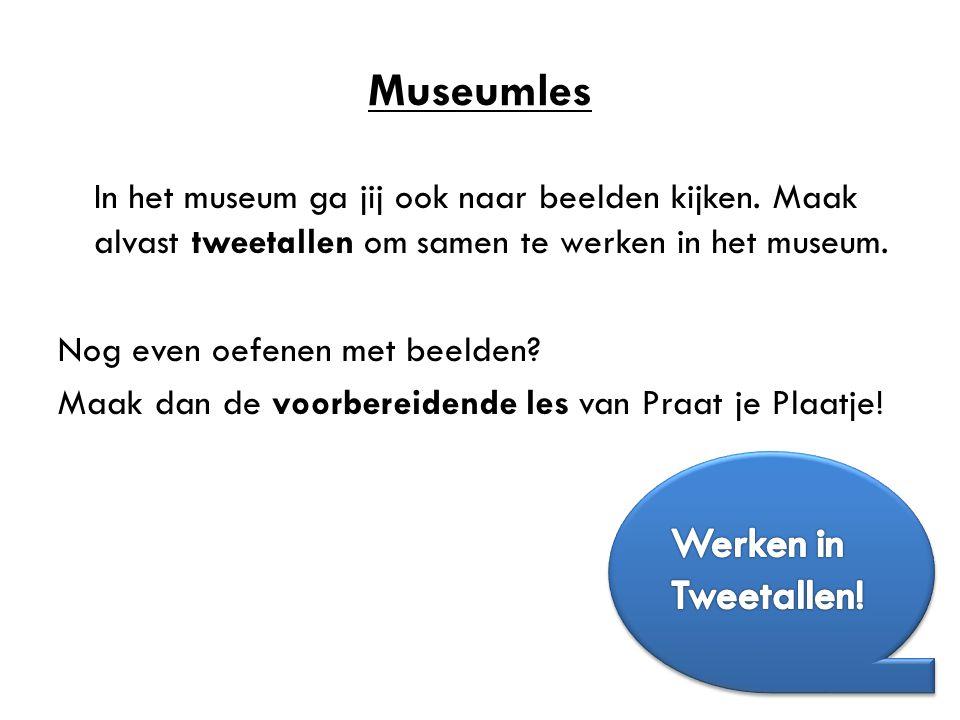 Museumles In het museum ga jij ook naar beelden kijken. Maak alvast tweetallen om samen te werken in het museum. Nog even oefenen met beelden? Maak da