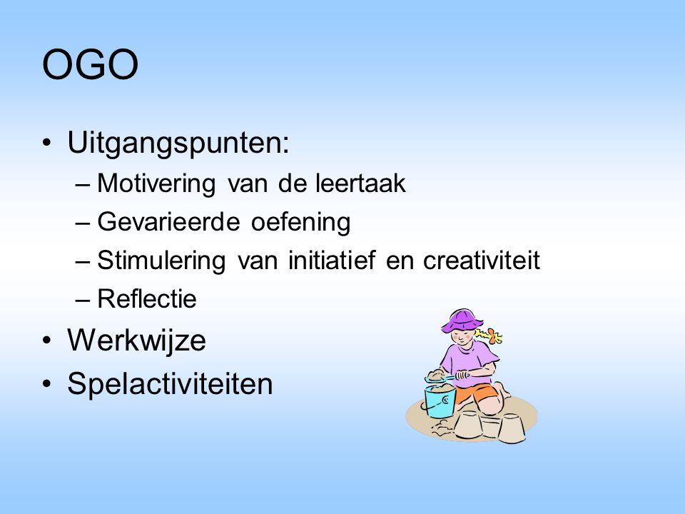 OGO Uitgangspunten: –Motivering van de leertaak –Gevarieerde oefening –Stimulering van initiatief en creativiteit –Reflectie Werkwijze Spelactiviteite