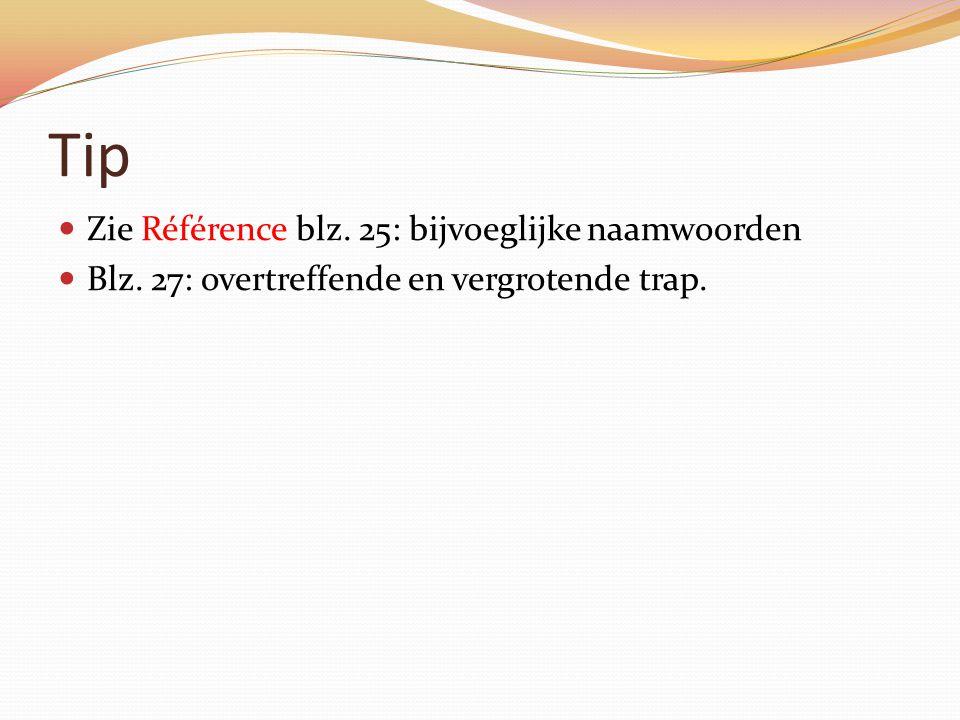 Tip Zie Référence blz. 25: bijvoeglijke naamwoorden Blz. 27: overtreffende en vergrotende trap.