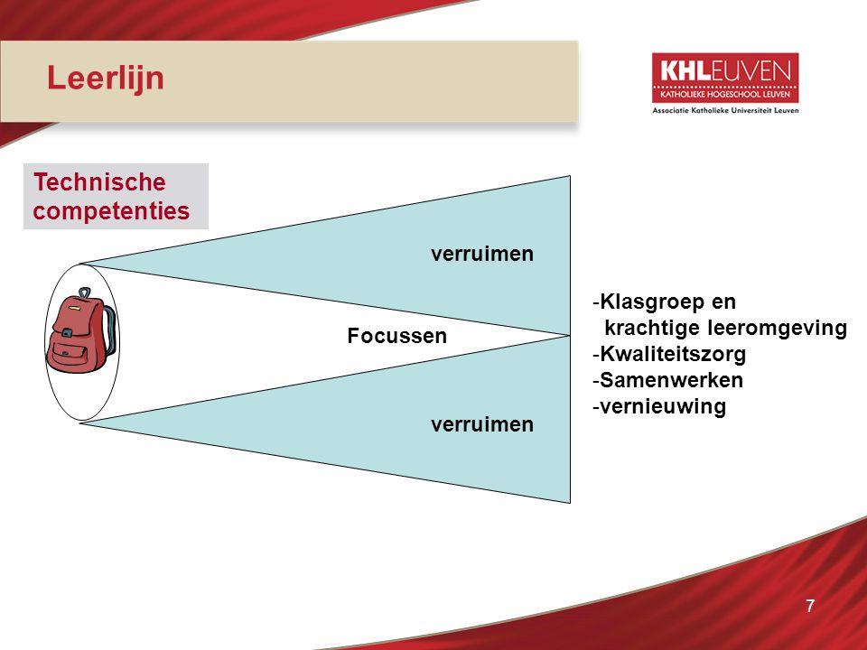 7 Leerlijn verruimen Focussen Technische competenties -Klasgroep en krachtige leeromgeving -Kwaliteitszorg -Samenwerken -vernieuwing