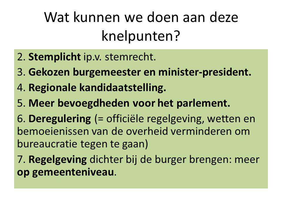 Wat kunnen we doen aan deze knelpunten? 2. Stemplicht ip.v. stemrecht. 3. Gekozen burgemeester en minister-president. 4. Regionale kandidaatstelling.