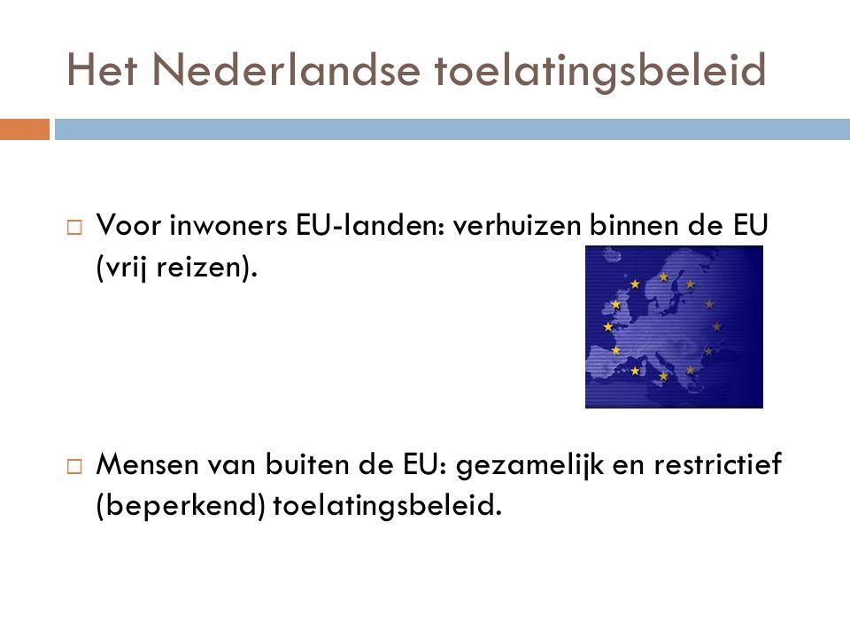 Het Nederlandse toelatingsbeleid  Voor inwoners EU-landen: verhuizen binnen de EU (vrij reizen).  Mensen van buiten de EU: gezamelijk en restrictief