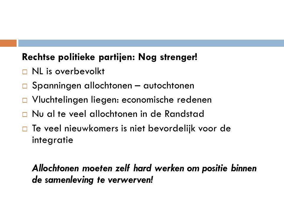 Rechtse politieke partijen: Nog strenger!  NL is overbevolkt  Spanningen allochtonen – autochtonen  Vluchtelingen liegen: economische redenen  Nu
