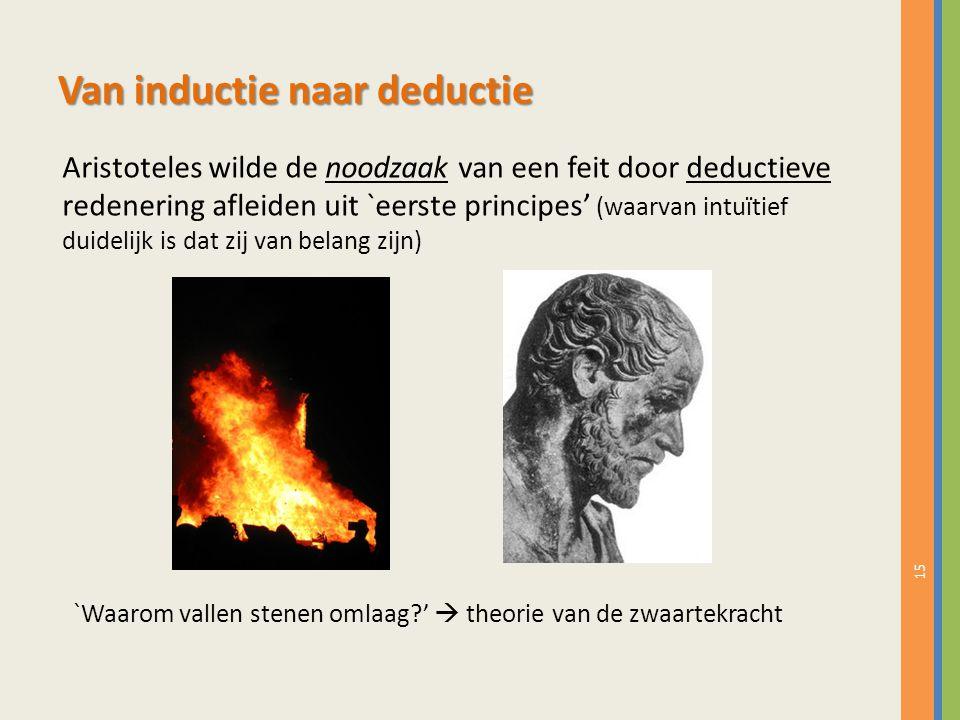 15 Van inductie naar deductie Aristoteles wilde de noodzaak van een feit door deductieve redenering afleiden uit `eerste principes' (waarvan intuïtief