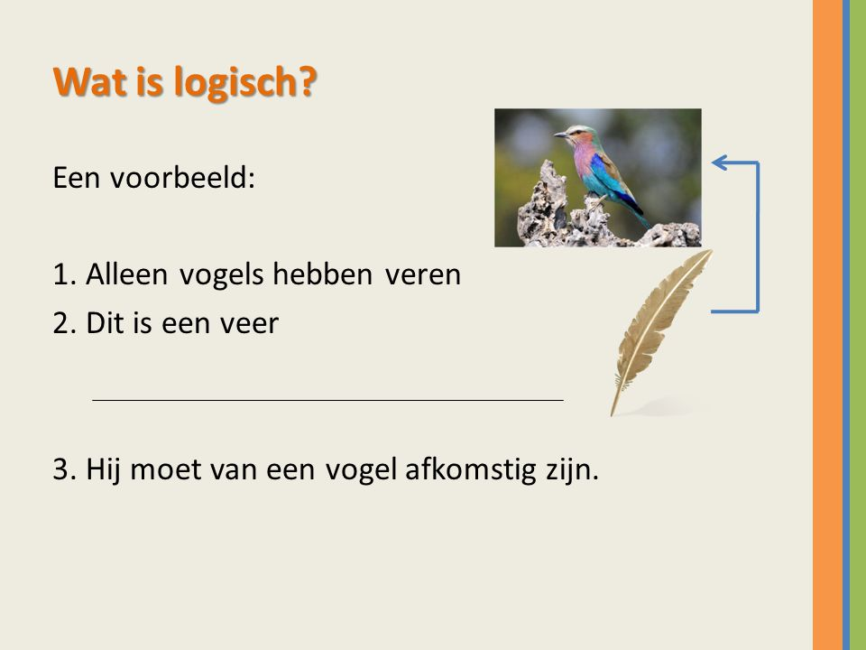 Wat is logisch? Een voorbeeld: 1. Alleen vogels hebben veren 2. Dit is een veer 3. Hij moet van een vogel afkomstig zijn.