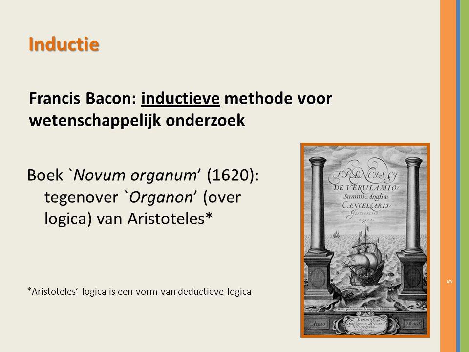 5 Inductie Boek `Novum organum' (1620): tegenover `Organon' (over logica) van Aristoteles* *Aristoteles' logica is een vorm van deductieve logica Fran