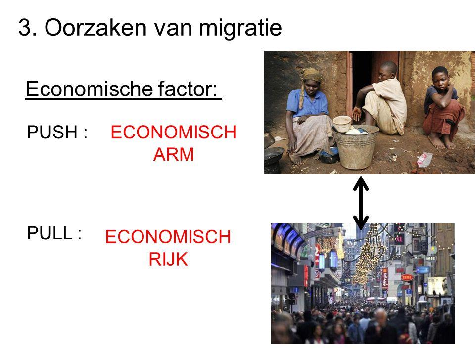 3. Oorzaken van migratie Economische factor: PUSH : PULL : ECONOMISCH ARM ECONOMISCH RIJK