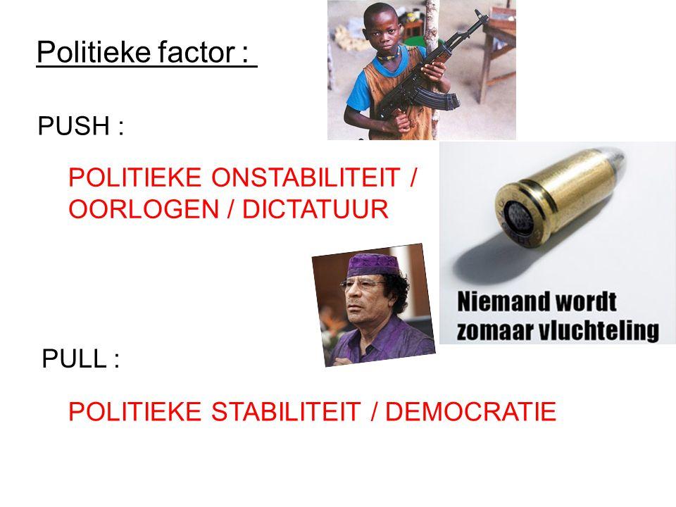 Politieke factor : PUSH : PULL : POLITIEKE ONSTABILITEIT / OORLOGEN / DICTATUUR POLITIEKE STABILITEIT / DEMOCRATIE