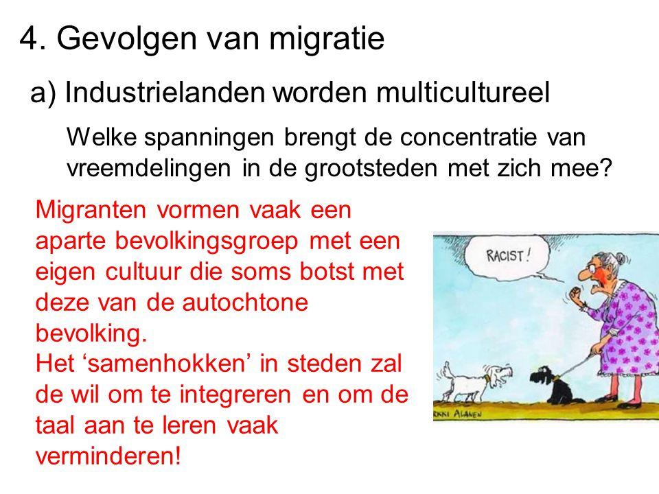 4. Gevolgen van migratie a) Industrielanden worden multicultureel Welke spanningen brengt de concentratie van vreemdelingen in de grootsteden met zich