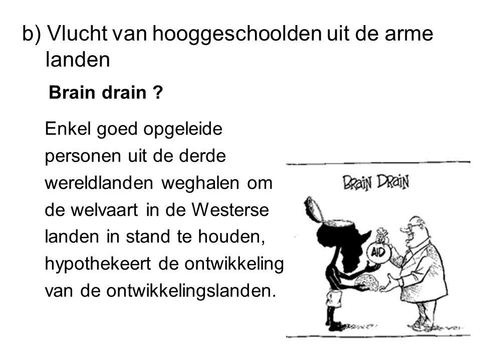 b) Vlucht van hooggeschoolden uit de arme landen Brain drain .