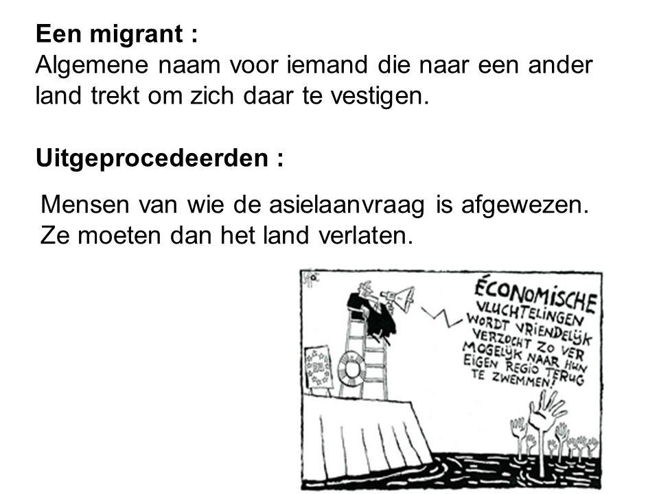 Een migrant : Algemene naam voor iemand die naar een ander land trekt om zich daar te vestigen. Uitgeprocedeerden : Mensen van wie de asielaanvraag is