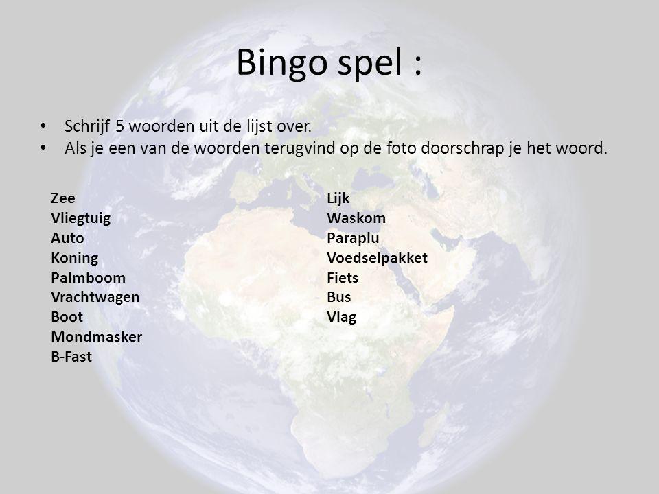 Bingo spel : Schrijf 5 woorden uit de lijst over. Als je een van de woorden terugvind op de foto doorschrap je het woord. Zee Vliegtuig Auto Koning Pa