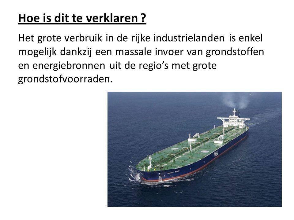 Hoe is dit te verklaren ? Het grote verbruik in de rijke industrielanden is enkel mogelijk dankzij een massale invoer van grondstoffen en energiebronn