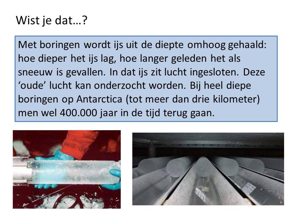 Wist je dat…? Met boringen wordt ijs uit de diepte omhoog gehaald: hoe dieper het ijs lag, hoe langer geleden het als sneeuw is gevallen. In dat ijs z