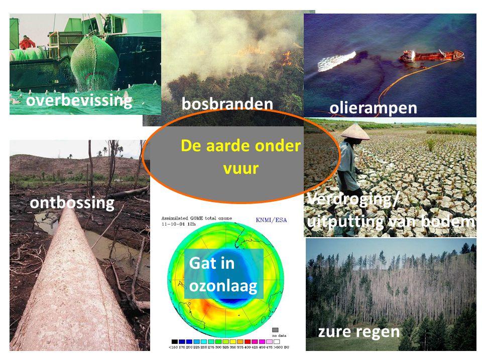 De aarde onder vuur overbevissing bosbranden olierampen ontbossing Verdroging/ uitputting van bodem zure regen Gat in ozonlaag