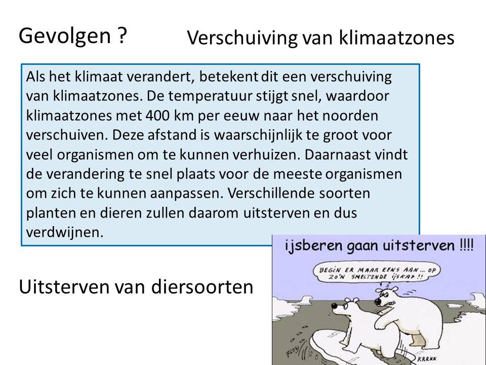 Gevolgen ? Verschuiving van klimaatzones Uitsterven van diersoorten Als het klimaat verandert, betekent dit een verschuiving van klimaatzones. De temp