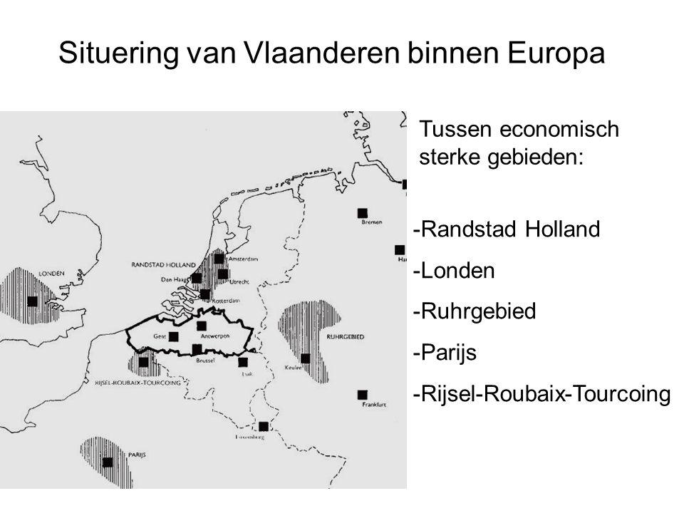 Situering van Vlaanderen binnen Europa Tussen economisch sterke gebieden: -Randstad Holland -Londen -Ruhrgebied -Parijs -Rijsel-Roubaix-Tourcoing