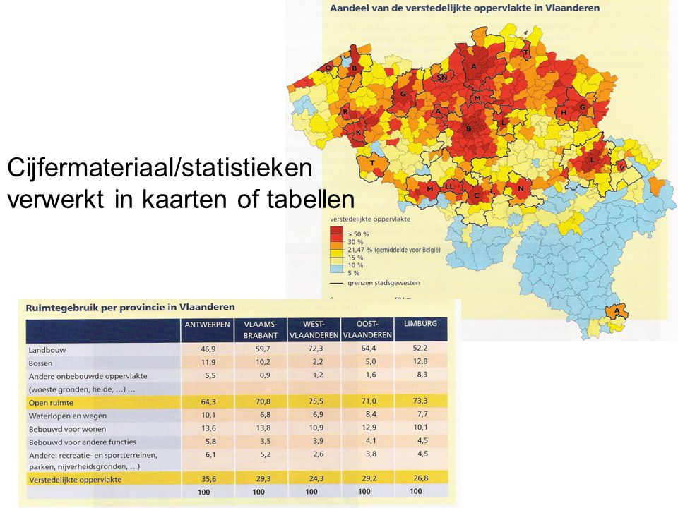 Cijfermateriaal/statistieken verwerkt in kaarten of tabellen