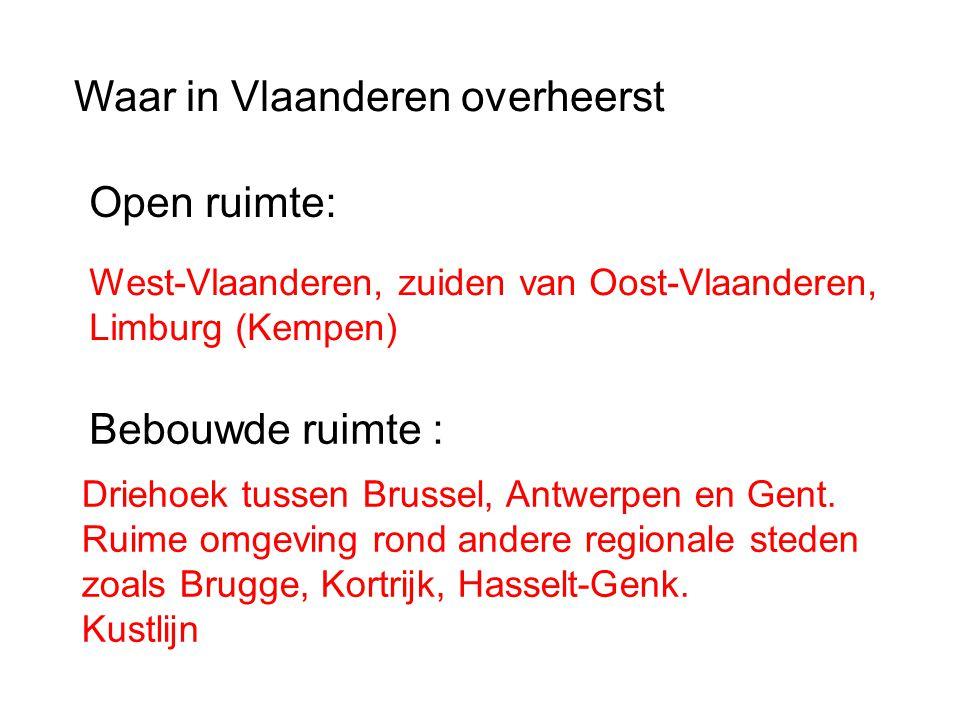 Waar in Vlaanderen overheerst Open ruimte: Bebouwde ruimte : West-Vlaanderen, zuiden van Oost-Vlaanderen, Limburg (Kempen) Driehoek tussen Brussel, An