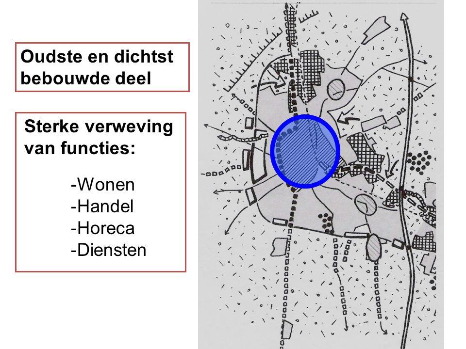 Oudste en dichtst bebouwde deel Sterke verweving van functies: -Wonen -Handel -Horeca -Diensten