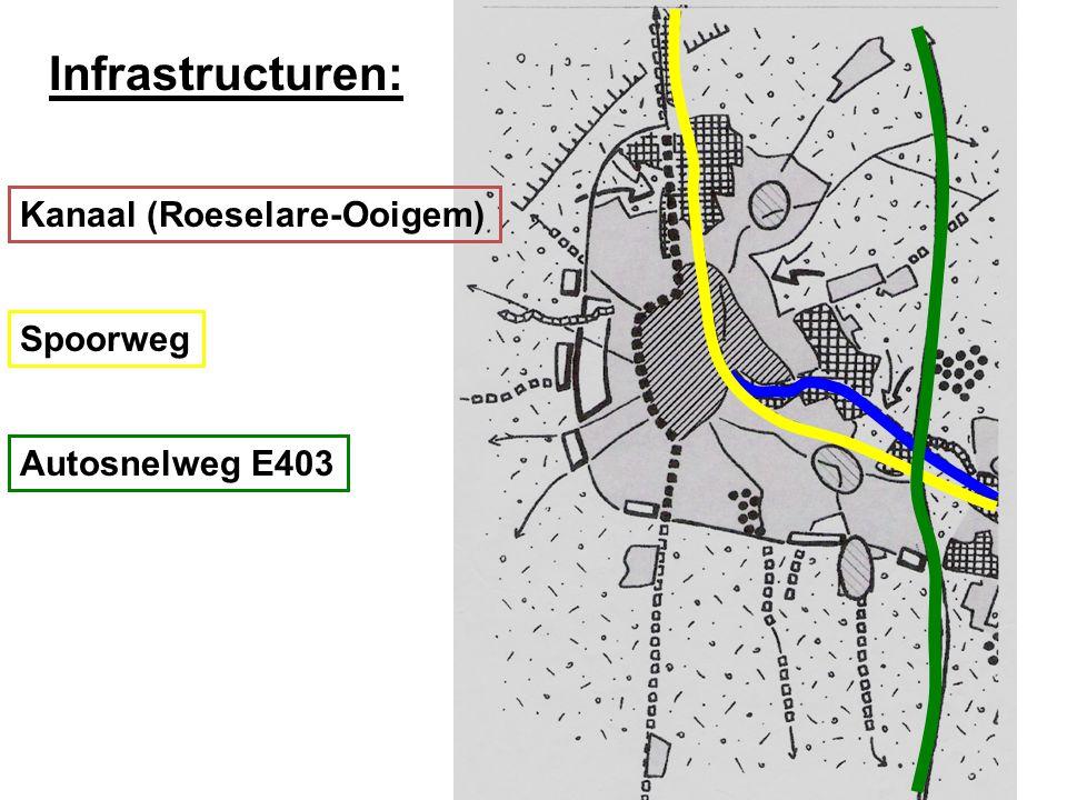 Versnippering van de open ruimte Lintbebouwing langs Ardooisesteenweg De Tassche E403 Industie- terreinen Voorbeeld van versnippering tussen Roeselare en Ardooie