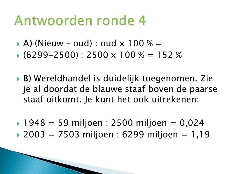  A) (Nieuw – oud) : oud x 100 % =  (6299-2500) : 2500 x 100 % = 152 %  B) Wereldhandel is duidelijk toegenomen. Zie je al doordat de blauwe staaf b