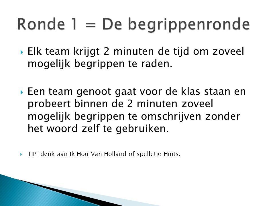  Elk team krijgt 2 minuten de tijd om zoveel mogelijk begrippen te raden.  Een team genoot gaat voor de klas staan en probeert binnen de 2 minuten z