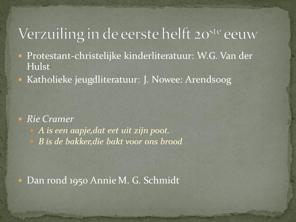Protestant-christelijke kinderliteratuur: W.G. Van der Hulst Katholieke jeugdliteratuur: J. Nowee: Arendsoog Rie Cramer A is een aapje,dat eet uit zij