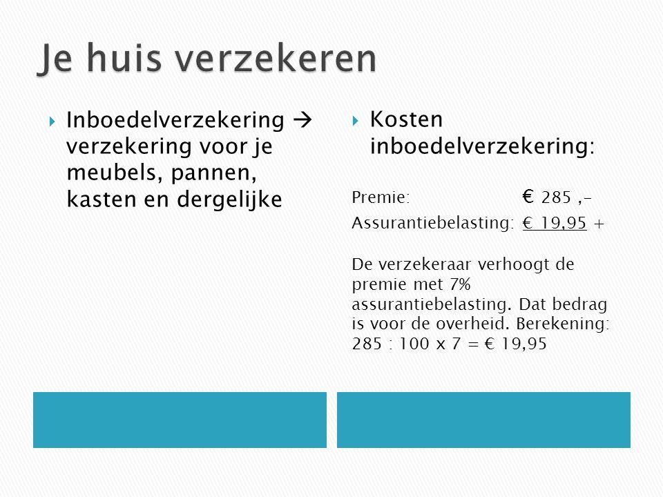  Inboedelverzekering  verzekering voor je meubels, pannen, kasten en dergelijke  Kosten inboedelverzekering: Premie: € 285,- Assurantiebelasting: € 19,95 + De verzekeraar verhoogt de premie met 7% assurantiebelasting.