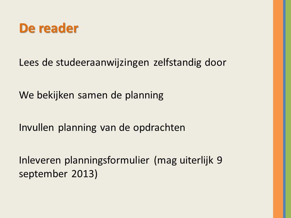 De reader Lees de studeeraanwijzingen zelfstandig door We bekijken samen de planning Invullen planning van de opdrachten Inleveren planningsformulier