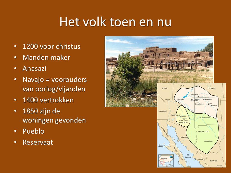 Het volk toen en nu 1200 voor christus 1200 voor christus Manden maker Manden maker Anasazi Anasazi Navajo = voorouders van oorlog/vijanden Navajo = v