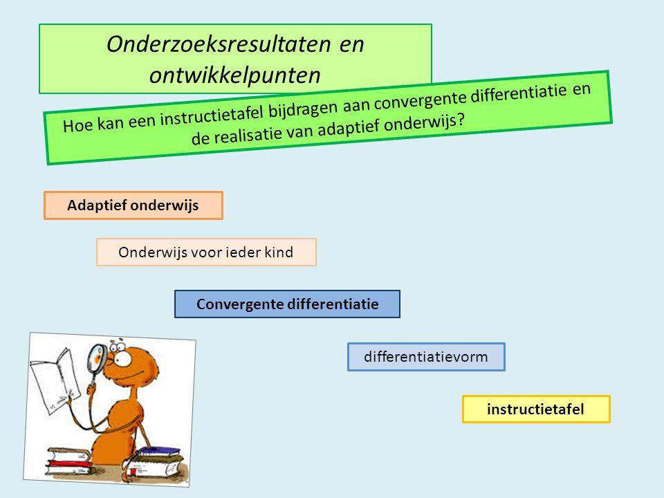 Onderzoeksresultaten en ontwikkelpunten Hoe kan een instructietafel bijdragen aan convergente differentiatie en de realisatie van adaptief onderwijs.
