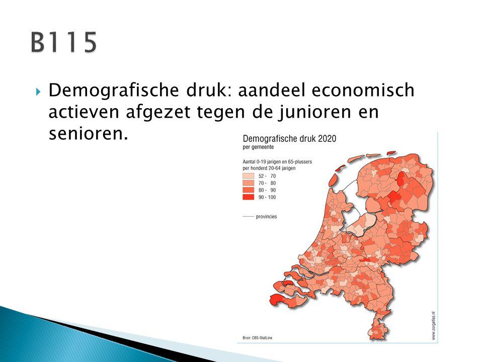  Rekenen met demografische druk: Hoe lager het getal is dat uit de som komt, hoe gunstiger het is voor de economie van een land.