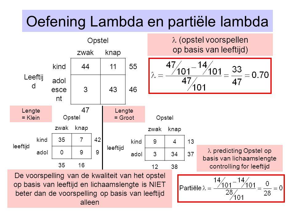 Oefening Lambda en partiële lambda Opstel zwakknap Leeftij d kind441155 adol esce nt 34346 4754 Lengte = KleinOpstel zwakknap leeftijd kind35742 adol0